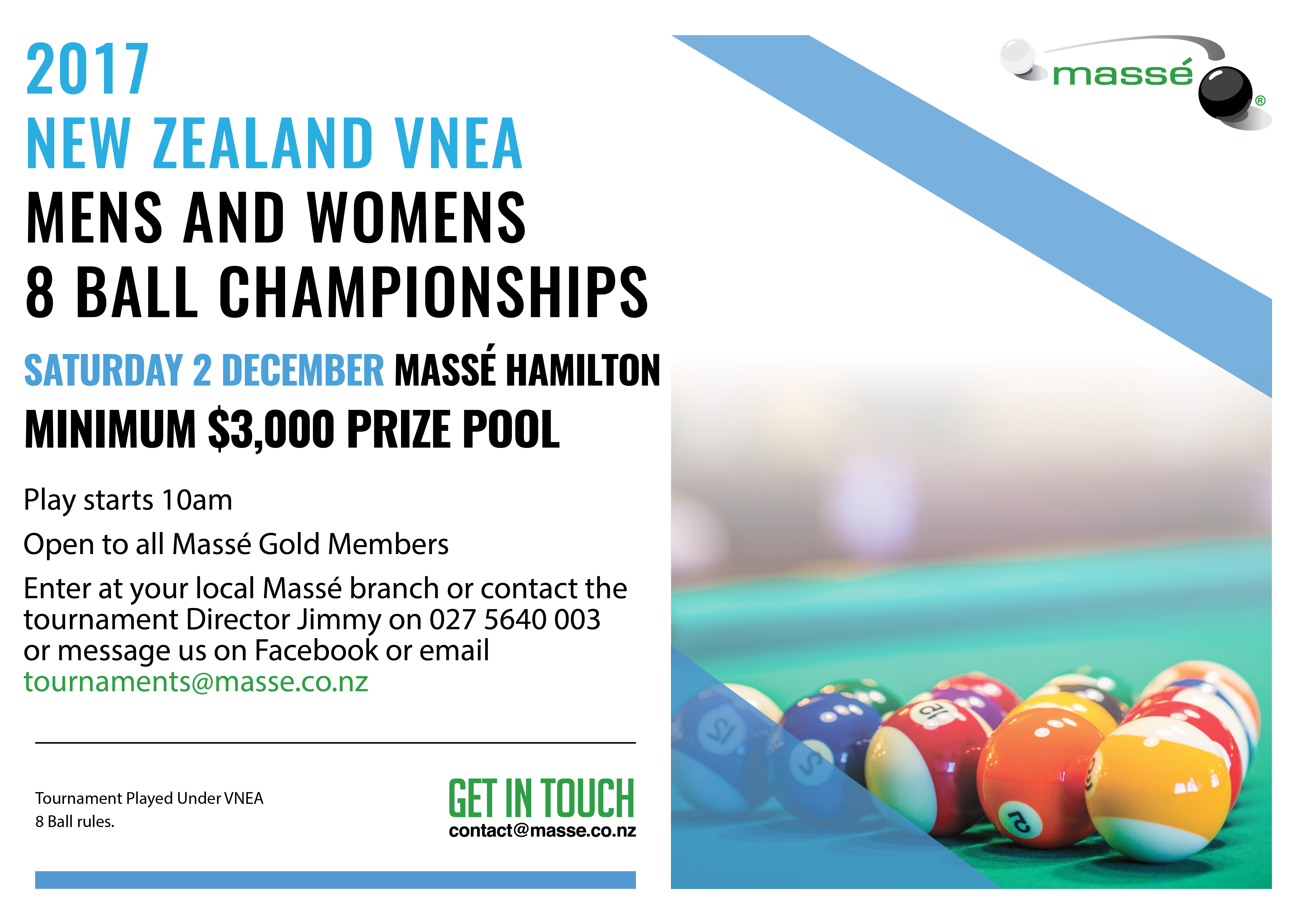 New Zealand VNEA 8 Ball Championships Mens & Womens 2017