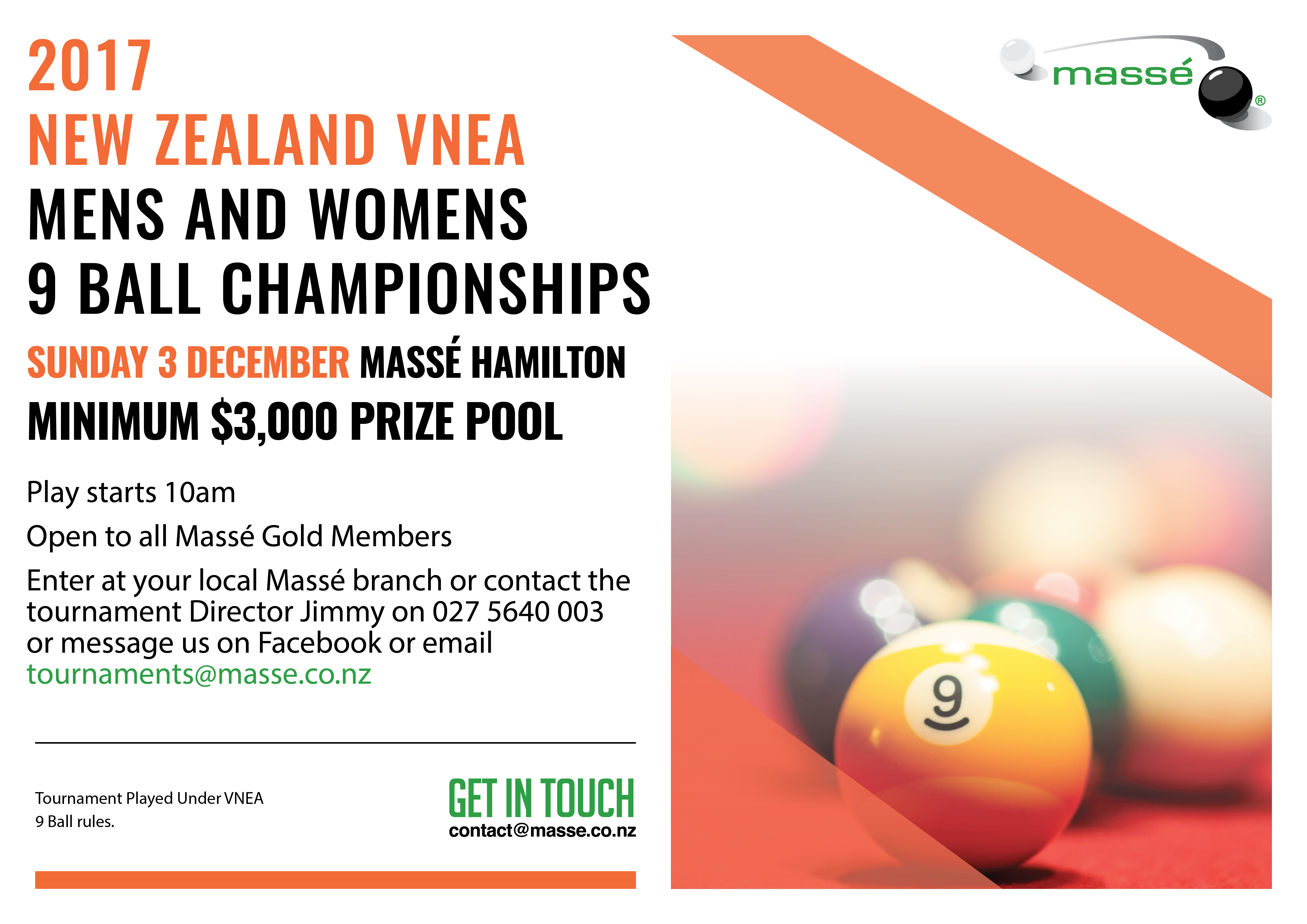 New Zealand VNEA 9 Ball Championships Mens & Womens 2017