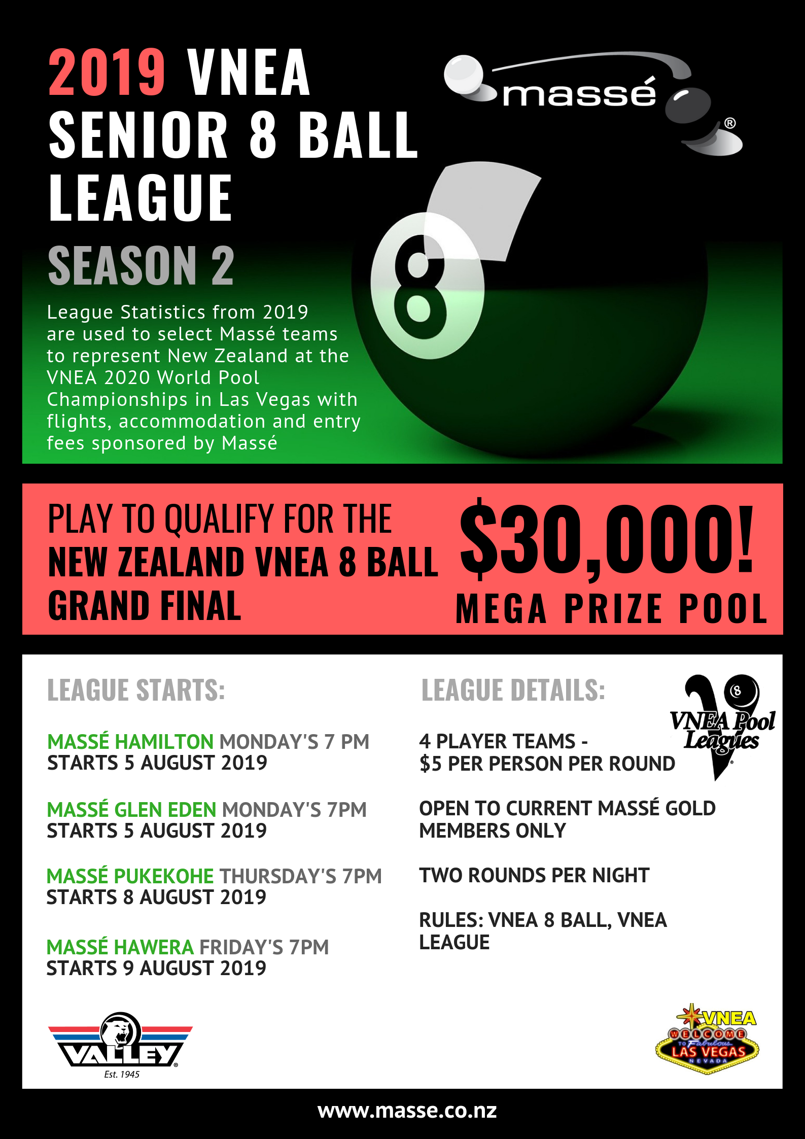 Masse - New Zealand's Premier Cuesports Club for 8 Ball, 9