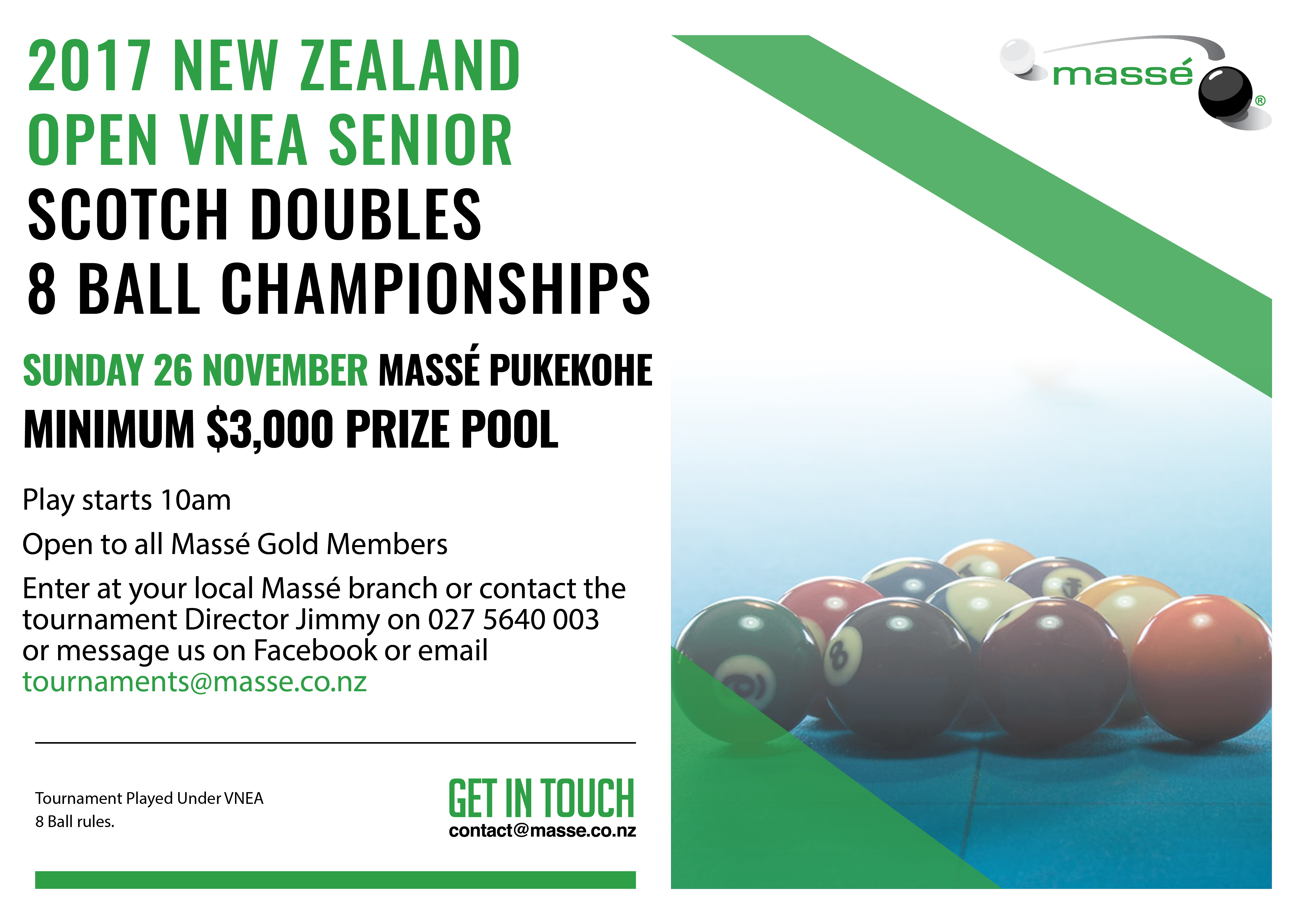 New Zealand Open VNEA Scotch Doubles 8 Ball Championships 2017
